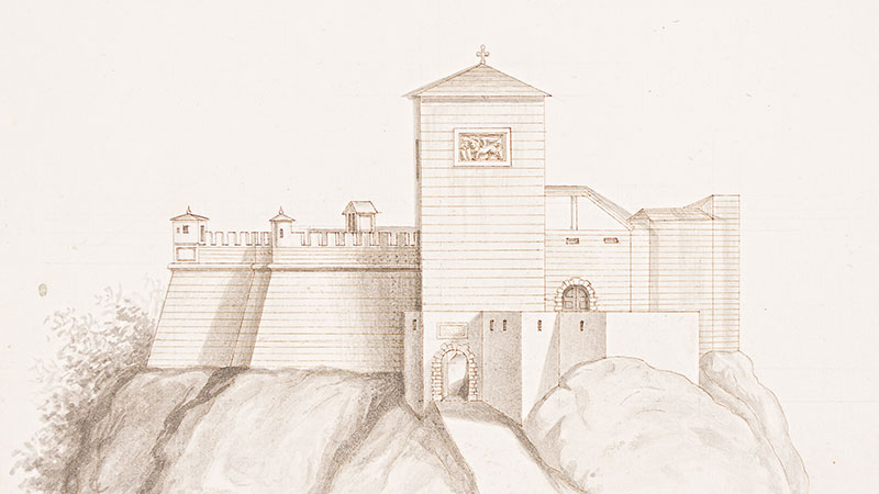 Manoscritto - Facciata lineare del Castello