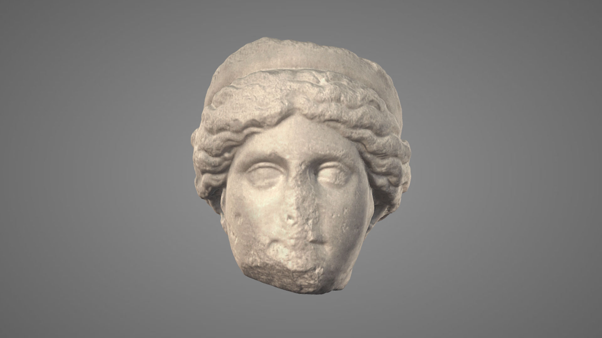 Testa Femminile Diademata In Marmo - 3D Model