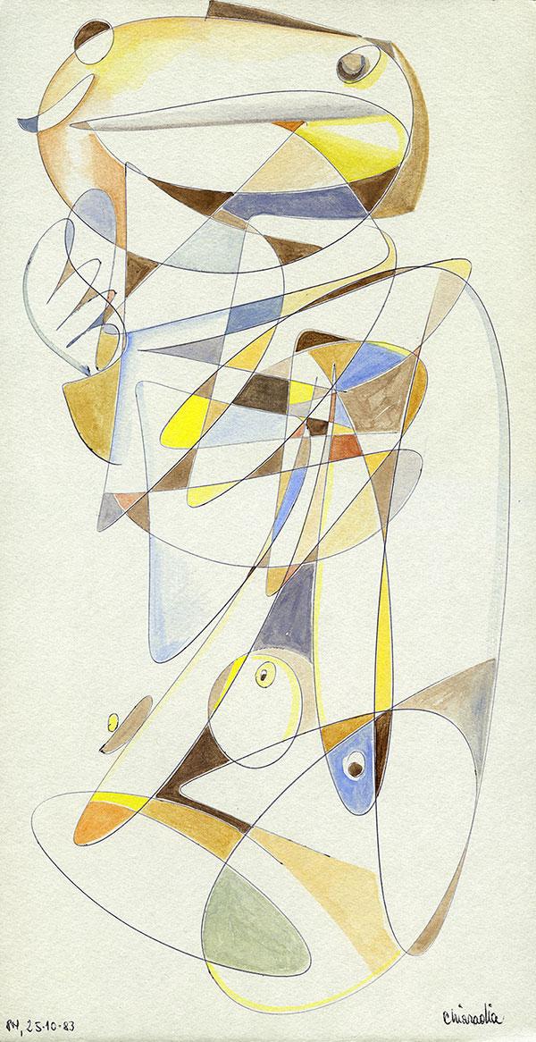 Evoluzione lineare di una Margravia - 1 acquerello su cartoncino 33,1 x 60 cm