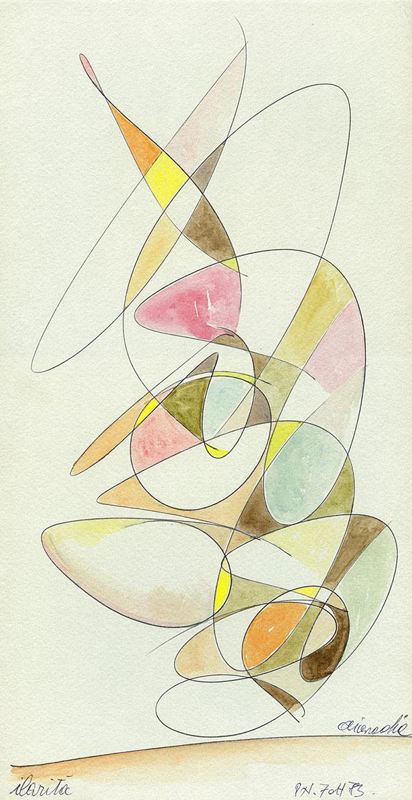 Evoluzione lineare di una Margravia - 2 acquerello su cartoncino 33,1 x 60 cm