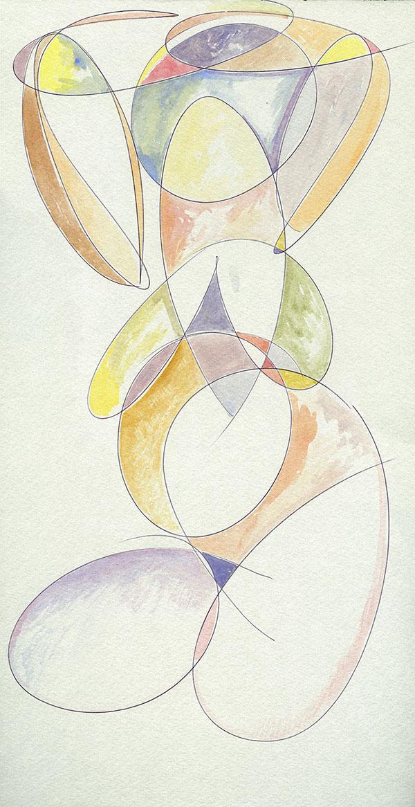 Evoluzione lineare di una Margravia - 4 acquerello su cartoncino 33,1 x 60 cm