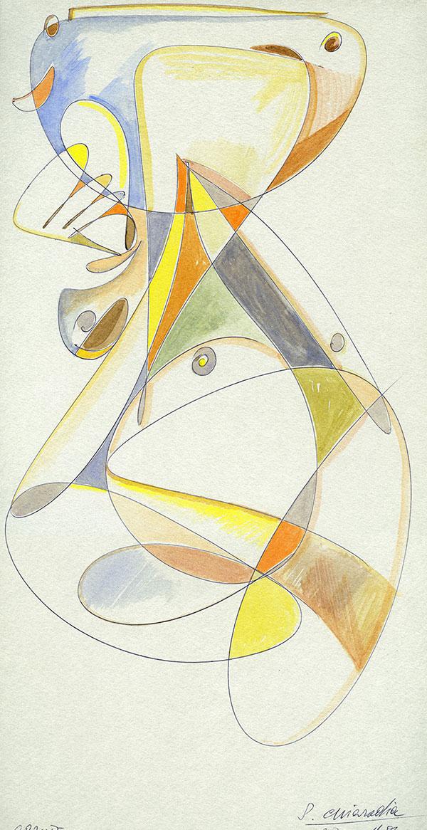 Evoluzione lineare di una Margravia - 5 acquerello su cartoncino 33,1 x 60 cm