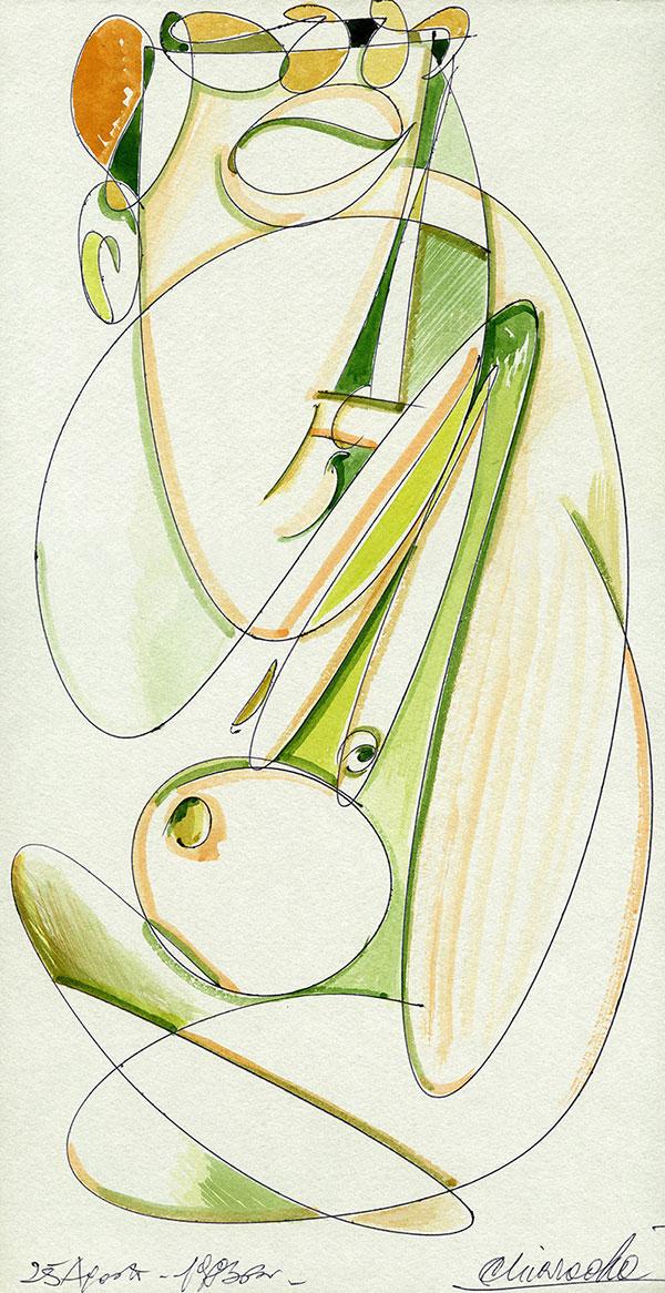 Evoluzione lineare di una Margravia - 8 acquerello su cartoncino 33,1 x 60 cm