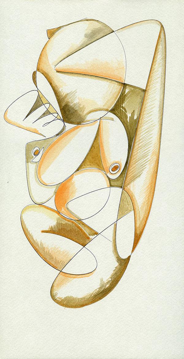 Evoluzione lineare di una Margravia - 9 acquerello su cartoncino 33,1 x 60 cm
