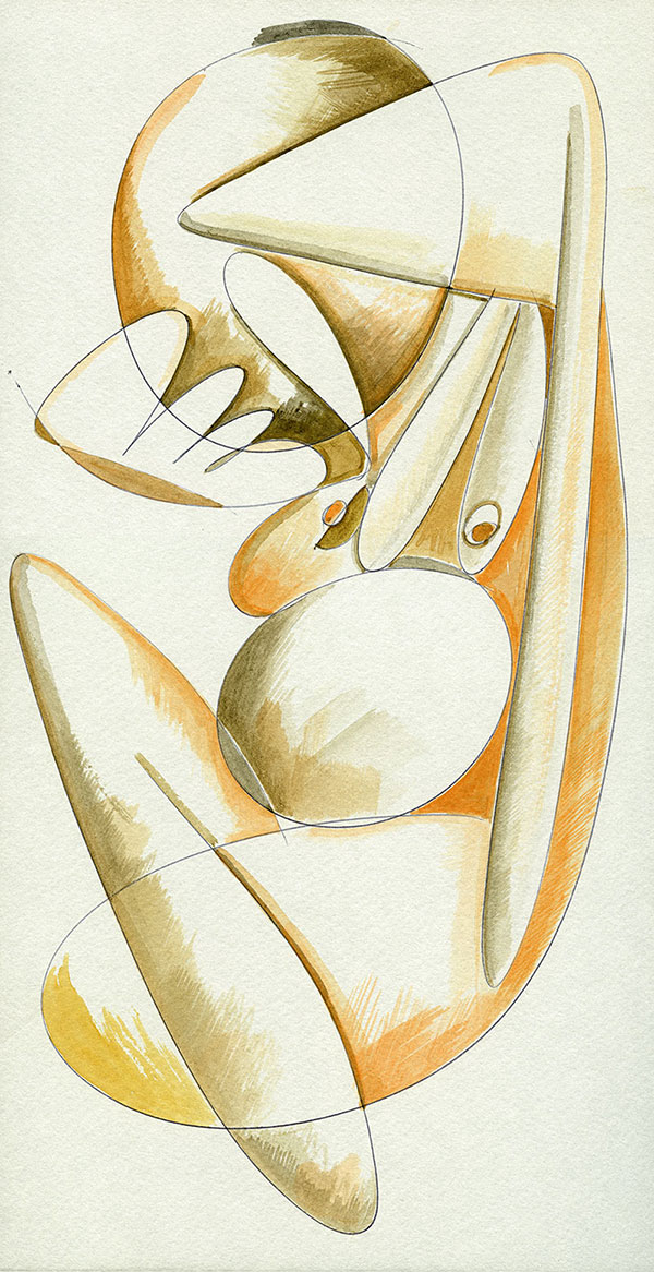 Evoluzione lineare di una Margravia - 10 acquerello su cartoncino 33,1 x 60 cm