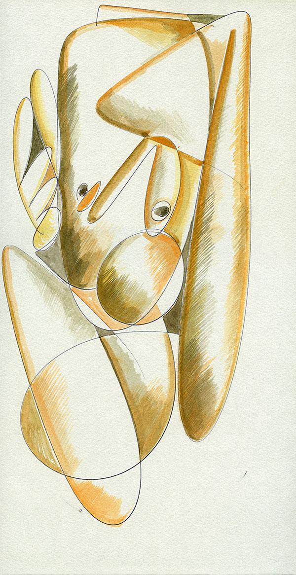 Evoluzione lineare di una Margravia - 11 acquerello su cartoncino 33,1 x 60 cm