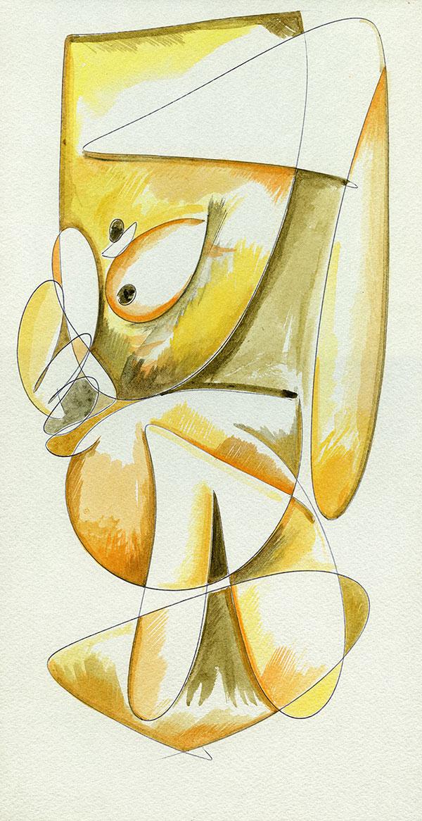 Evoluzione lineare di una Margravia - 12 acquerello su cartoncino 33,1 x 60 cm