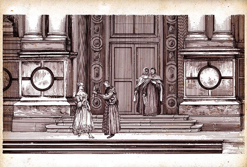Chiesa con frati e dama
