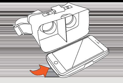 Inserisci lo smartphone all'interno del visore.